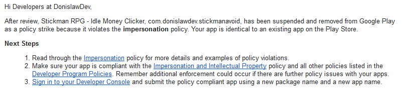 Google Play Policy Strike