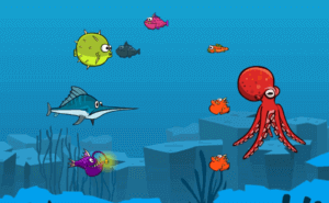 Fish eat fishes, two players web (online) game